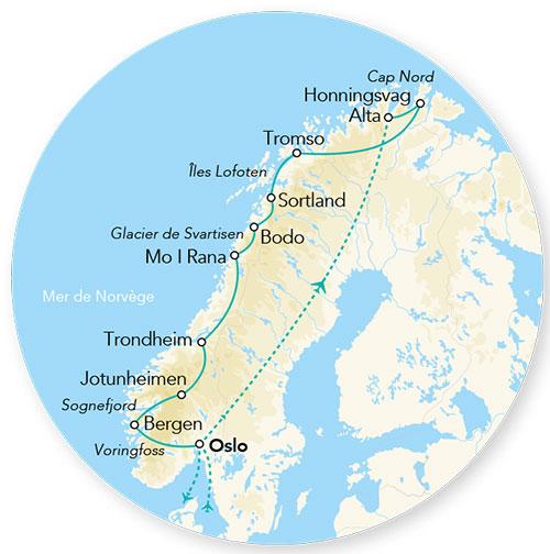Carte Norvege Cap Nord.Norvege Circuit Splendeurs Des Fjords Et Du Cap Nord